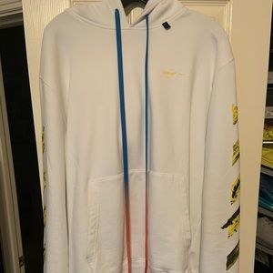 Off White Diagonal Pull Over Hoodie Size XL